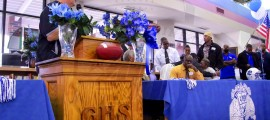 Godby Head Football Coach Ronnie Cottrell address the crowd in the schools media center for their 2012 Signing Day ceremony. The Cougars had 6 commits to Division 1 schools