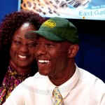Zemaric Holt and his mother share a laugh before the signing day ceramony. Holt  was all smiles as he chose to play at Arkansas Tech next fall.