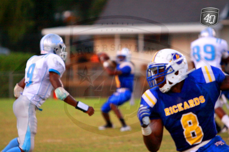 Rickards WR B. Denmark looks for a pass rom QB T. Johnson
